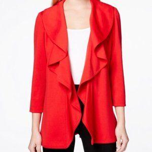 Calvin Klein Blazer Jacket Red Ruffle Open 14P